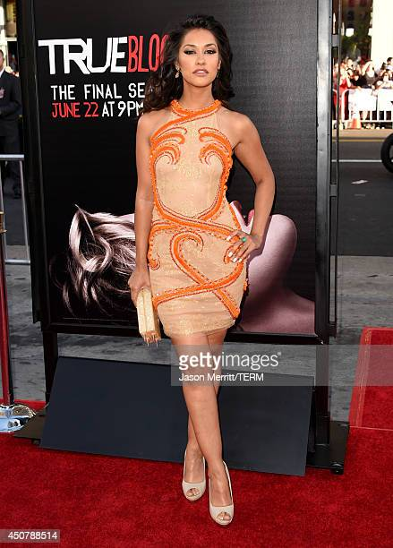 Actress Janina Gavankar attends the premiere of HBO's 'True Blood' season 7 and final season at TCL Chinese Theatre on June 17 2014 in Hollywood...