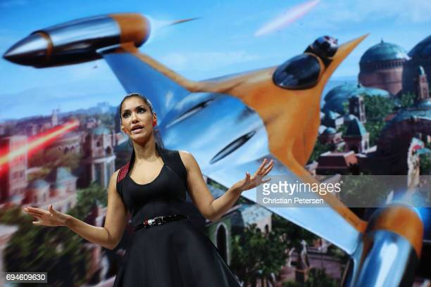 Actress Janina Gavankar introduces 'Star Wars Battlefront 2' during the Electronic Arts EA Play event at the Hollywood Palladium on June 10 2017 in...
