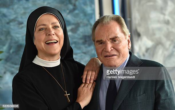 Actress Janina Hartwig and Fritz Wepper during a photocall for the tv show 'Um Himmels Willen' at Literaturhaus on May 24 2016 in Munich Germany