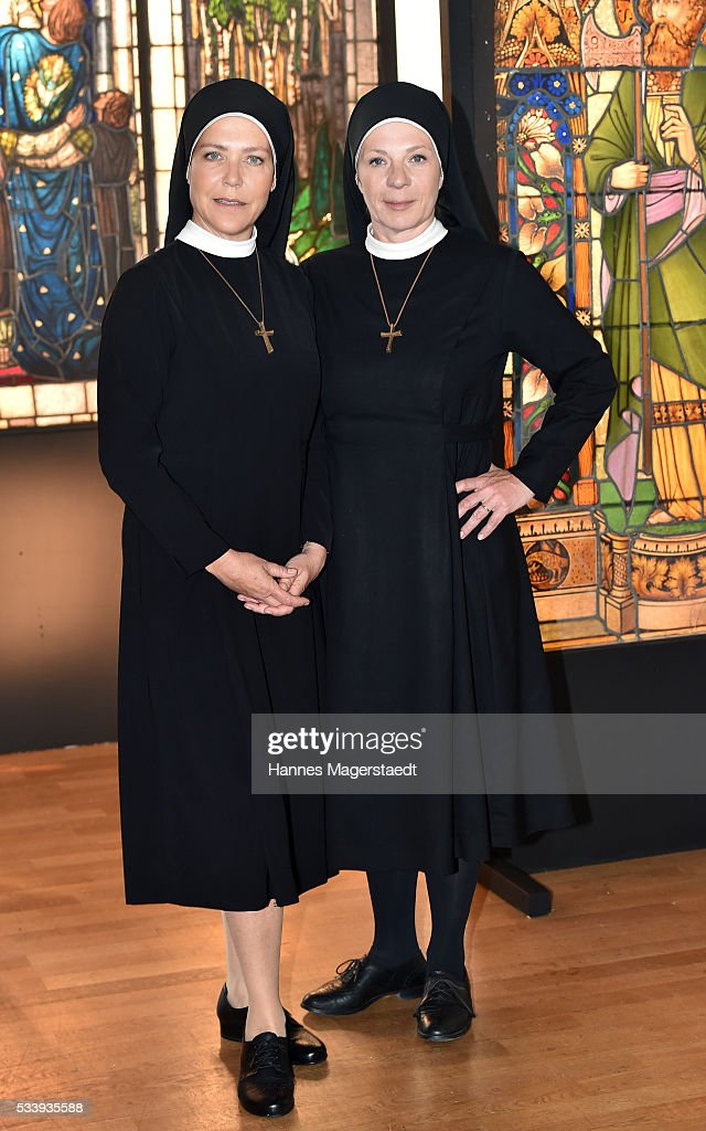 Actress Janina Hartwig and Nina Hoger during a photocall for the tv show 'Um Himmels Willen' at Literaturhaus on May 24, 2016 in Munich, Germany.