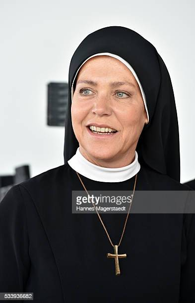 Actress Janina Hartwig during a photocall for the tv show 'Um Himmels Willen' at Literaturhaus on May 24 2016 in Munich Germany