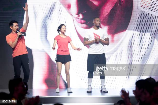 Actress Janine Chang and NBA player Damian Lillard of the Portland Trail Blazers attend adidas 'Republic of Sports' event at Taipingqiao Park on June...