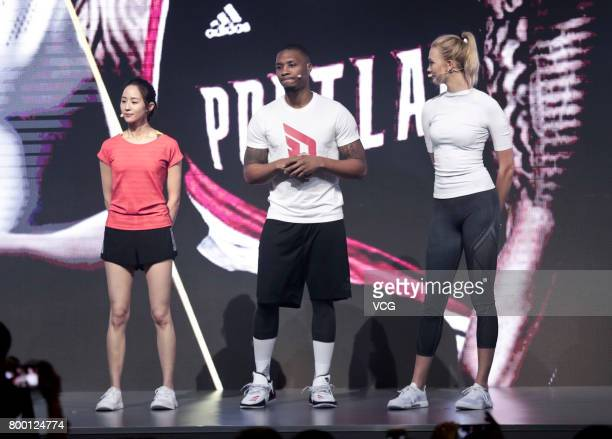 Actress Janine Chang NBA player Damian Lillard of the Portland Trail Blazers and model Karlie Kloss attend adidas 'Republic of Sports' event at...