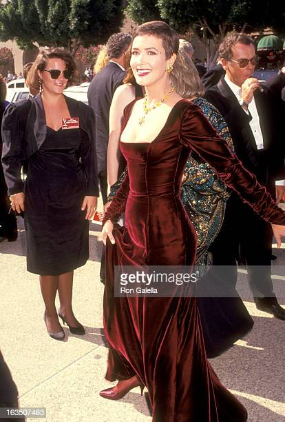 Actress Janine Turner attends the 43rd Annual Primetime Emmy Awards on August 25 1991 at Pasadena Civic Auditorium in Pasadena California