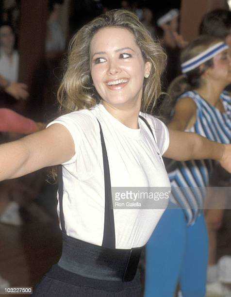 Actress Janine Turner attends the First Annual Aerobics Marathon to Benefit Victims for Victims on April 23 1983 at California Athletic Club in Santa...