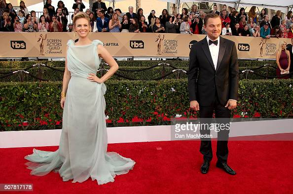 Actress January Jones and actor Leonardo DiCaprio attend the 22nd Annual Screen Actors Guild Awards at The Shrine Auditorium on January 30 2016 in...