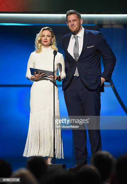 Actress January Jones and NFL player J J Watt speak onstage during the 5th Annual NFL Honors at Bill Graham Civic Auditorium on February 6 2016 in...