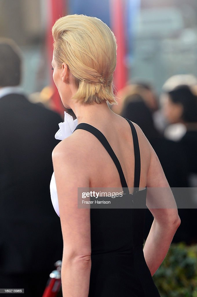 Actress January Jones (hair detail) arrives at the 19th Annual Screen Actors Guild Awards held at The Shrine Auditorium on January 27, 2013 in Los Angeles, California.