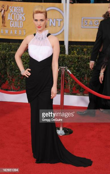 Actress January Jones arrives at the 19th Annual Screen Actors Guild Awards at The Shrine Auditorium on January 27 2013 in Los Angeles California