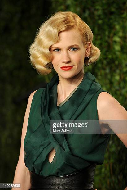 Actress January Jones arrives at the 2012 Vanity Fair Oscar Party hosted by Graydon Carter at Sunset Tower on February 26 2012 in West Hollywood...
