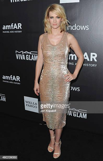 Actress January Jones arrives at the 2014 amfAR LA Inspiration Gala at Milk Studios on October 29 2014 in Hollywood California