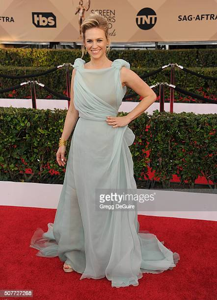 Actress January Jones arrives at the 22nd Annual Screen Actors Guild Awards at The Shrine Auditorium on January 30 2016 in Los Angeles California