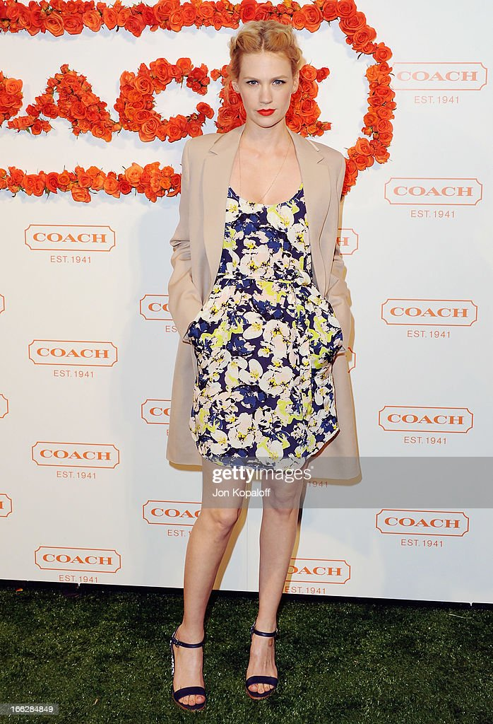 Actress January Jones arrives at the 3rd Annual Coach Evening To Benefit Children's Defense Fund at Bad Robot on April 10, 2013 in Santa Monica, California.