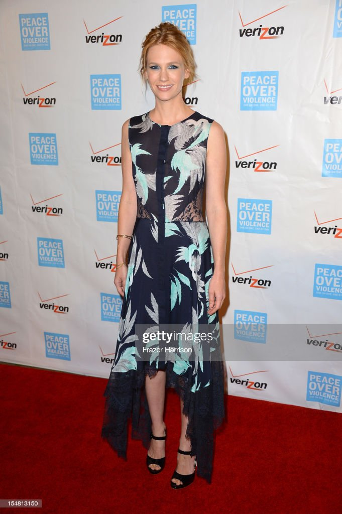 Actress January Jones arrives at the 41st Annual Peace Over Violence Humanitarian Awards held at Beverly Hills Hotel on October 26, 2012 in Beverly Hills, California.