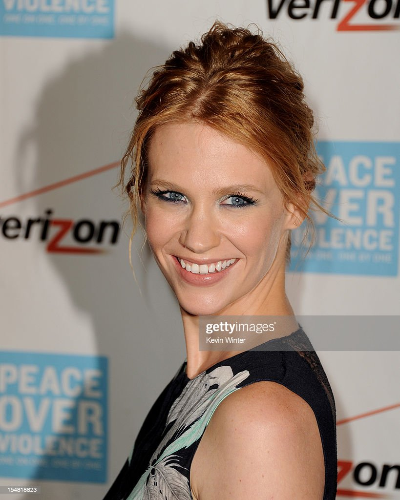 Actress January Jones arrives at the 41st Annual Peace Over Violence Humanitarian Awards at the Beverly Hills Hotel on October 26, 2012 in Beverly Hills, California.