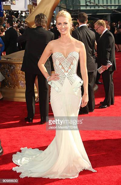 Actress January Jones arrives at the 61st Primetime Emmy Awards held at the Nokia Theatre on September 20 2009 in Los Angeles California