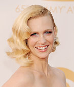Actress January Jones arrives at the 65th Annual Primetime Emmy Awards at Nokia Theatre LA Live on September 22 2013 in Los Angeles California