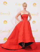 Actress January Jones arrives at the 66th Annual Primetime Emmy Awards at Nokia Theatre LA Live on August 25 2014 in Los Angeles California