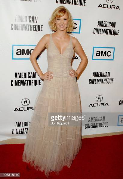 Actress January Jones arrives at the 'American Cinemateque Honors Julia Roberts' at the Beverly Hilton Hotel on October 12 2007 in Beverly Hills...