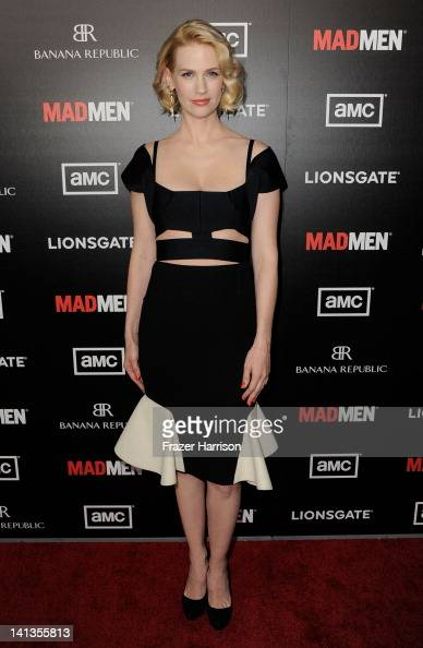 Actress January Jones arrives at the Premiere of AMC's 'Mad Men' Season 5 at ArcLight Cinemas on March 14 2012 in Hollywood California