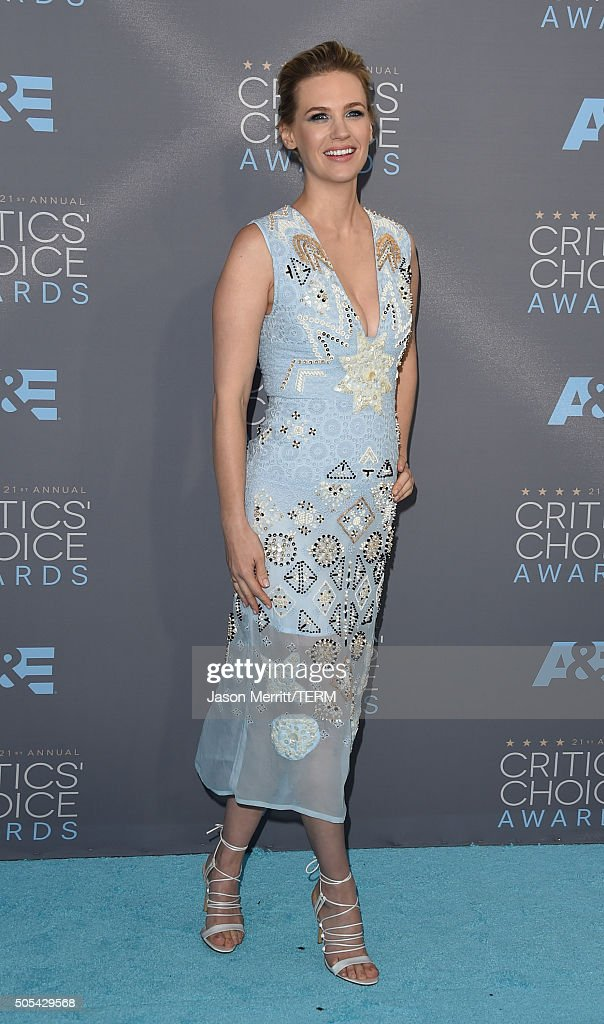 Actress January Jones attends the 21st Annual Critics' Choice Awards at Barker Hangar on January 17 2016 in Santa Monica California