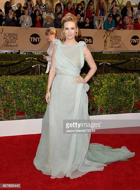 Actress January Jones attends The 22nd Annual Screen Actors Guild Awards at The Shrine Auditorium on January 30 2016 in Los Angeles California...