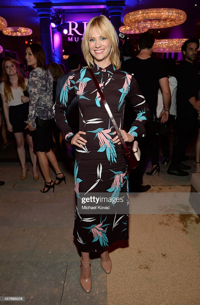 Actress January Jones attends the opening of Restoration Hardware West Hollywood The Gallery on Melrose Avenue on October 22 2014 in Hollywood...