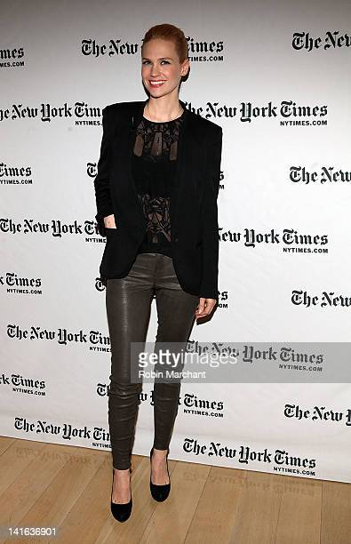 Actress January Jones attends the TimesTalk A Conversation with the Cast of 'Mad Men' at The Times Center on March 20 2012 in New York City