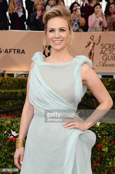 Actress January Jones poses in the press room during the 22nd Annual Screen Actors Guild Awards at The Shrine Auditorium on January 30 2016 in Los...