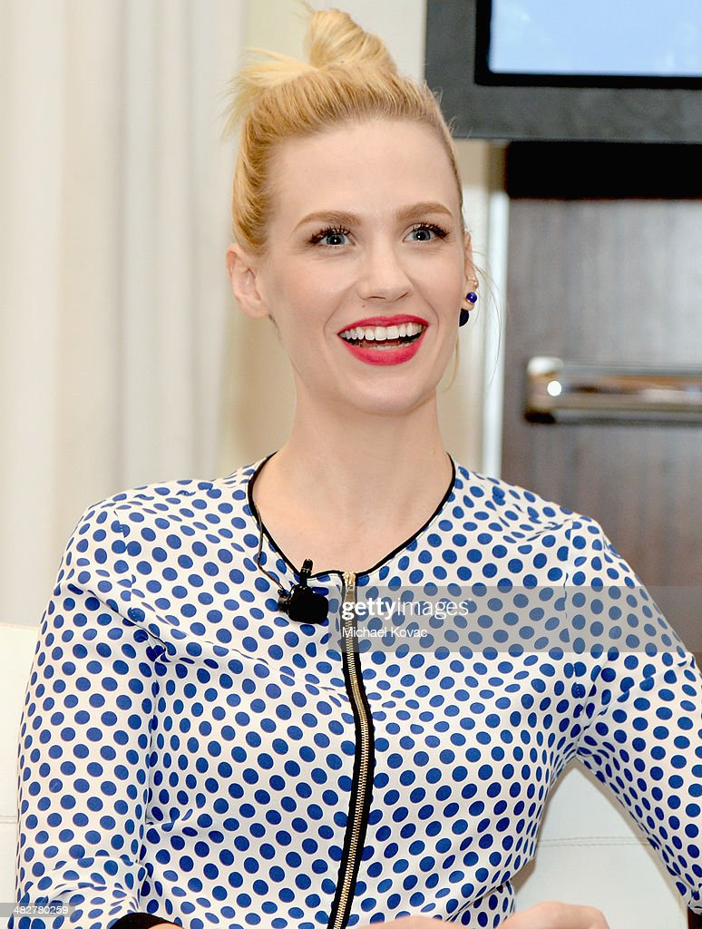 Actress January Jones speaks onstage during Lucky