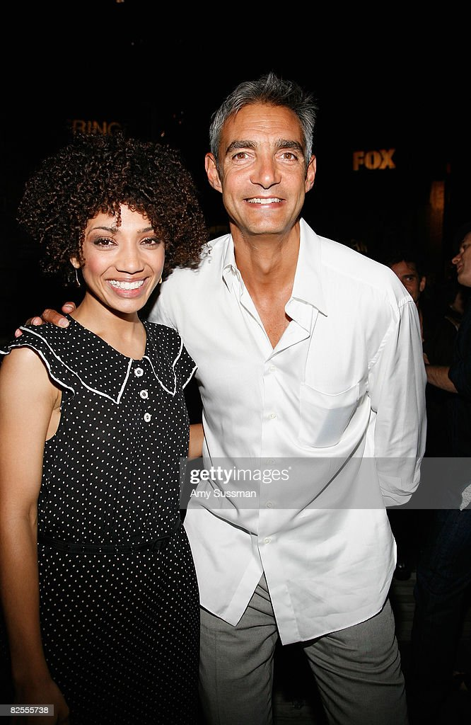 Actress Jasika Nicole and FBC Cairman of Entertainment Peter Ligouri attend the 'Fringe' New York Premiere Party at The Xchance on August 25, 2008 in New York City.
