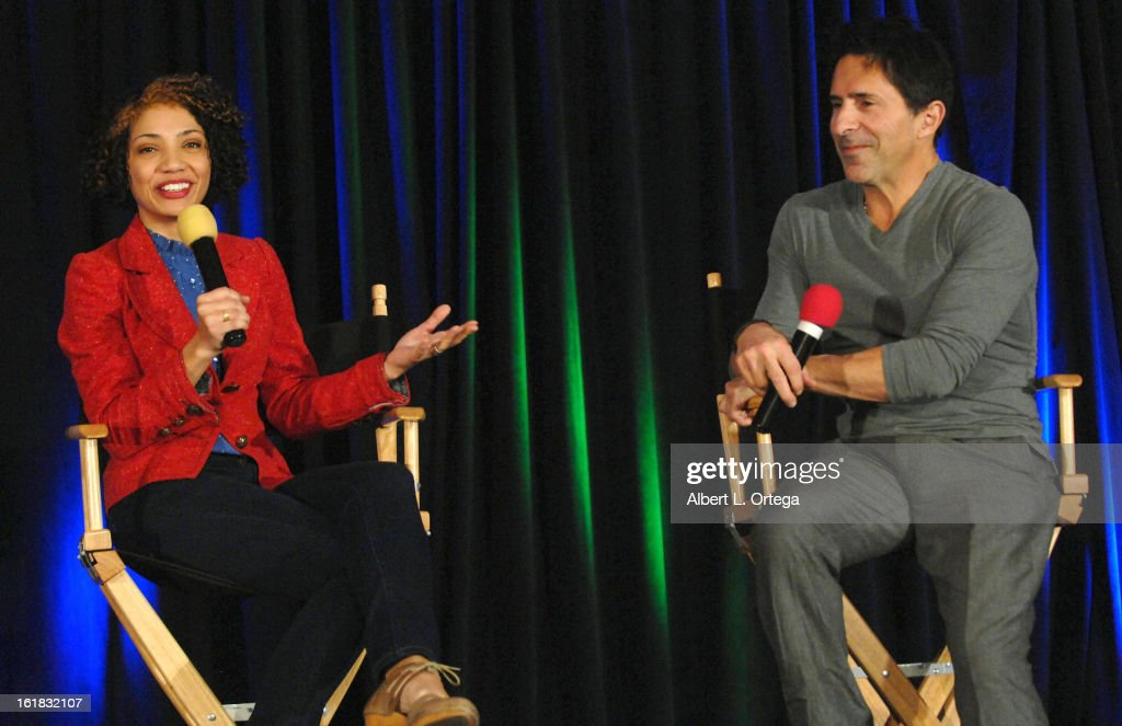 Actress Jasika Nicole and moderator Adam Malin attend Creation Entertainment's Grand Slam Convention: The Star Trek And Sci-Fi Summit held at Burbank Marriott Convention Center on February 16, 2013 in Burbank, California.
