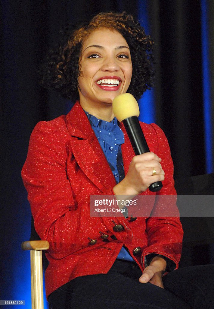 Actress <a gi-track='captionPersonalityLinkClicked' href=/galleries/search?phrase=Jasika+Nicole&family=editorial&specificpeople=704022 ng-click='$event.stopPropagation()'>Jasika Nicole</a> attends Creation Entertainment's Grand Slam Convention: The Star Trek And Sci-Fi Summit held at Burbank Marriott Convention Center on February 16, 2013 in Burbank, California.