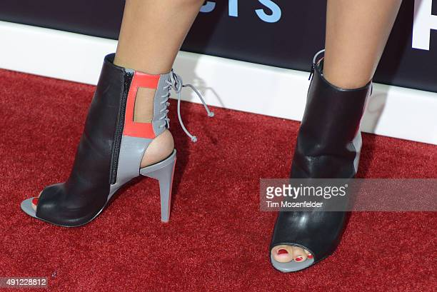 Actress Jasmin Savoy Brown shoe detail attends HBO's 'The Leftovers' Season 2 Premiere during The ATX Television Festival at the Paramount Theatre on...