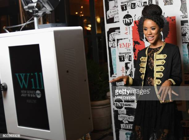Actress Jasmine Savoy Brown poses in a photo booth during TNT's Season One 'Will' Premiere After Party at Bryant Park on June 27 2017 in New York...