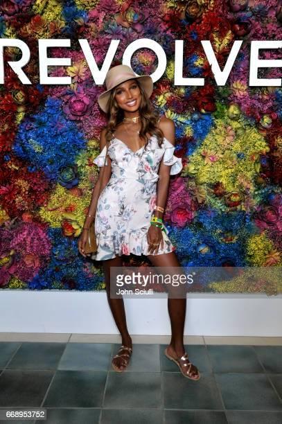 Actress Jasmine Tookes attends #REVOLVEfestival at Coachella with Moet Chandon on April 15 2017 in La Quinta CA Merv Griffin Estate