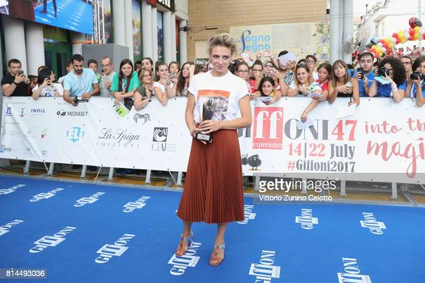 Actress Jasmine Trinca poses with the Giffoni Award during the Giffoni Film Festival 2017 on July 14 2017 in Giffoni Valle Piana Italy