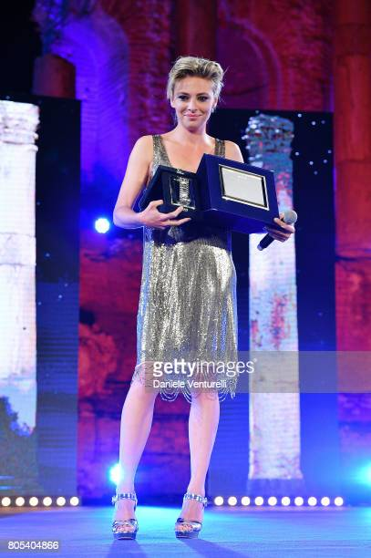 Actress Jasmine Trinca receives Nastro D'Argento on stage during the Nastri D'Argento Awards Ceremony 2017 Awards Ceremony on July 1 2017 in Taormina...