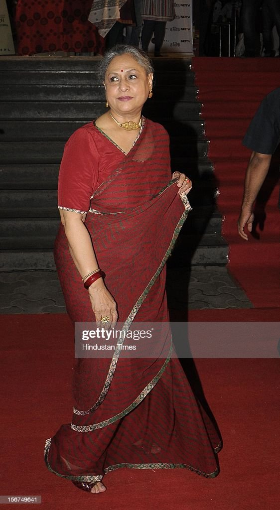 Actress <a gi-track='captionPersonalityLinkClicked' href=/galleries/search?phrase=Jaya+Bachchan&family=editorial&specificpeople=1026829 ng-click='$event.stopPropagation()'>Jaya Bachchan</a> attending Special Screening of Film Chitagong at Cinemax on October 3, 2012 in Mumbai, India. (Photo by Amlan Dutta/Hindustan Times via Getty Images) '