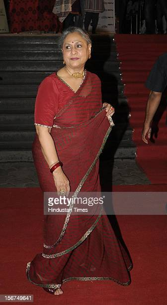 'MUMBAI INDIA OCTOBER 3 Actress Jaya Bachchan attending Special Screening of Film Chitagong at Cinemax on October 3 2012 in Mumbai India '