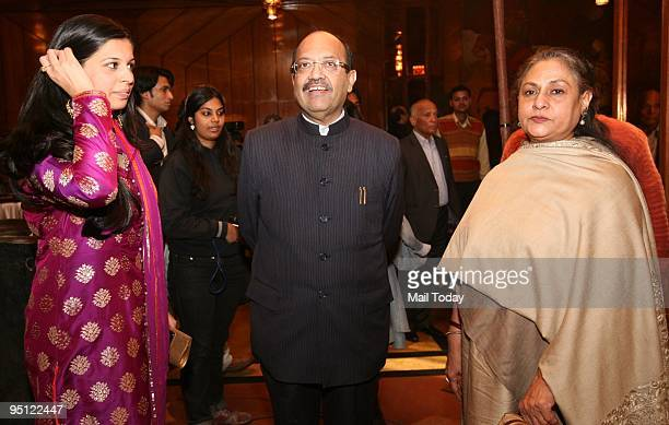 Actress Jaya Bachchan with politician Amar Singh at the launch of the book 50 Maestros 50 Recordings in New Delhi on Monday December 21 2009