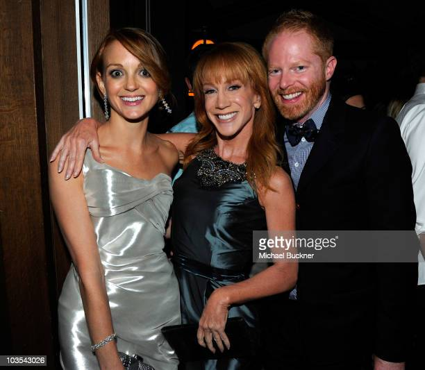 Actress Jayma Mays actress Kathy Griffin and actor Jesse Tyler Ferguson attend Audi Celebrates the 2010 Emmy Awards at Cecconi's Restaurant on August...