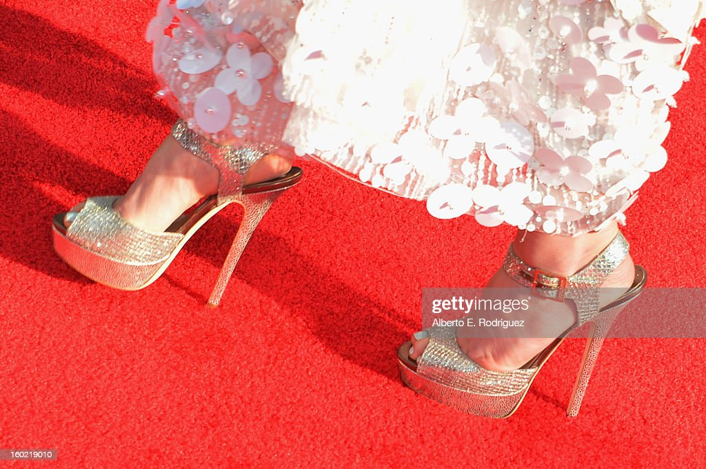 Actress Jayma Mays (shoe detail) arrives at the 19th Annual Screen Actors Guild Awards held at The Shrine Auditorium on January 27, 2013 in Los Angeles, California.