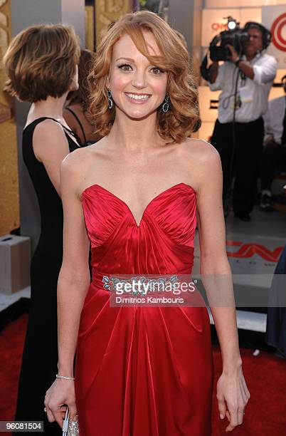Actress Jayma Mays arrives to the TNT/TBS broadcast of the 16th Annual Screen Actors Guild Awards held at the Shrine Auditorium on January 23 2010 in...