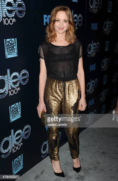 Actress Jayma Mays attends the 'Glee' 100th episode celebration at Chateau Marmont on March 18 2014 in Los Angeles California