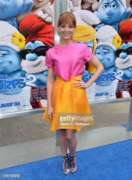 Actress Jayma Mays attends the premiere Of Columbia Pictures' 'Smurfs 2' at Regency Village Theatre on July 28 2013 in Westwood California