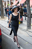 Actress Jayma Mays is seen on location for 'The Smurfs 2' at the 'Plaza Athenee' hotel on July 10 2012 in Paris France