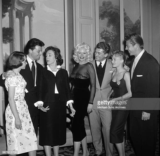 Actress Jayne Mansfield and Mickey Hargitay attend a party with French Stars in Los AngelesCalifornia