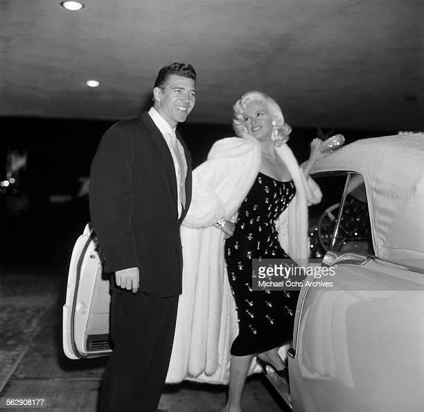 Actress Jayne Mansfield and Mickey Hargitay attend an event in Los AngelesCalifornia