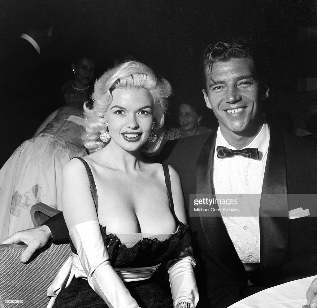 Actress <a gi-track='captionPersonalityLinkClicked' href=/galleries/search?phrase=Jayne+Mansfield&family=editorial&specificpeople=91204 ng-click='$event.stopPropagation()'>Jayne Mansfield</a> and <a gi-track='captionPersonalityLinkClicked' href=/galleries/search?phrase=Mickey+Hargitay&family=editorial&specificpeople=233644 ng-click='$event.stopPropagation()'>Mickey Hargitay</a> attend the Makeup Artist Ball in Los Angeles,California.